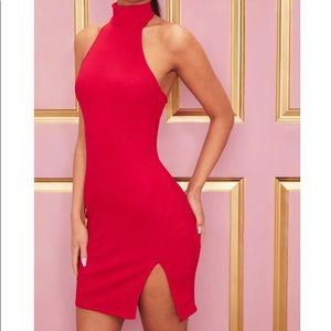 PrettyLittleThing Red Halter Neck Dress